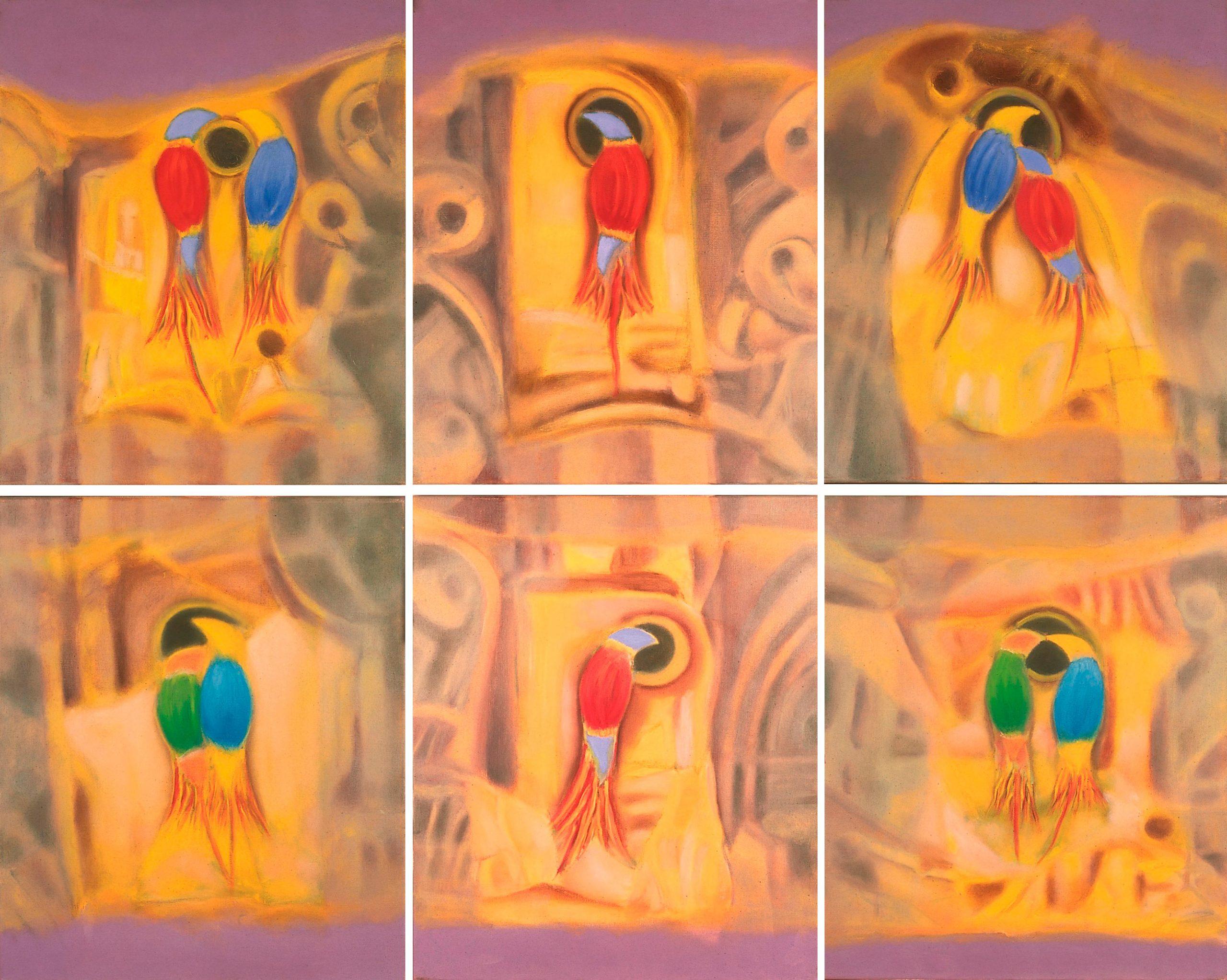 Aves do Paraiso VIII. Óleo 55x46cm x6